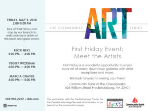 First Friday: Meet the Artists @ Community Bank of the Chesapeake | Fredericksburg | Virginia | United States