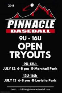 Pinnacle Youth Travel Baseball Open Tryouts @ Marshall Park and Loriella Park, Fredericksburg Va 22407