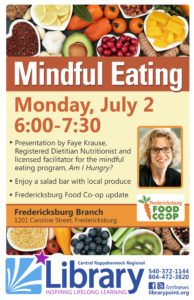 Mindful Eating @ Fredericksburg Branch Library | Fredericksburg | Virginia | United States