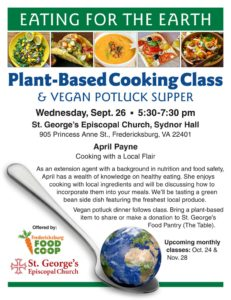 Plant-Based Cooking Class @ St. George's Episcopal Church | Fredericksburg | Virginia | United States
