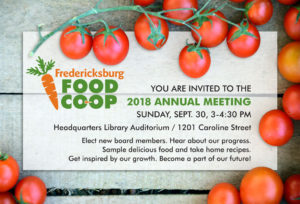 Fredericksburg Food Co-op Annual Meeting @ Fredericksburg Branch Library | Fredericksburg | Virginia | United States